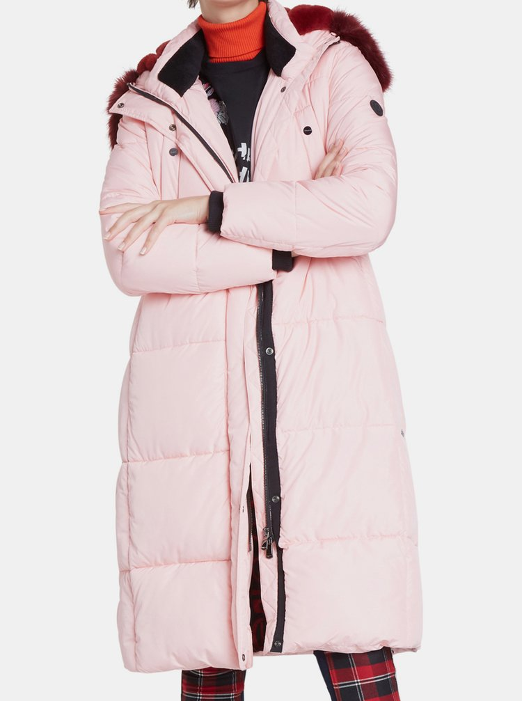Desigual pudrově růžový kabát Padded Sveta