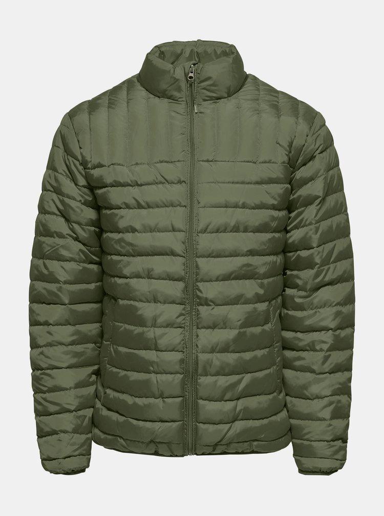 Khaki prošívaná zimní bunda ONLY & SONS