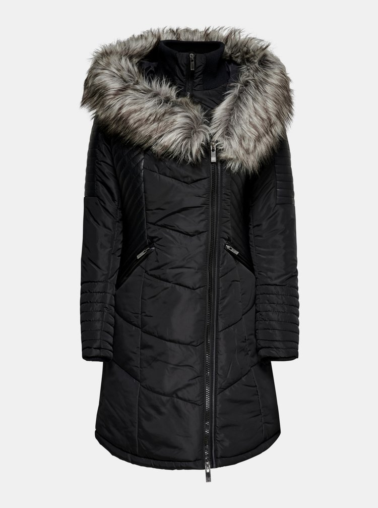Černý zimní prošívaný kabát ONLY