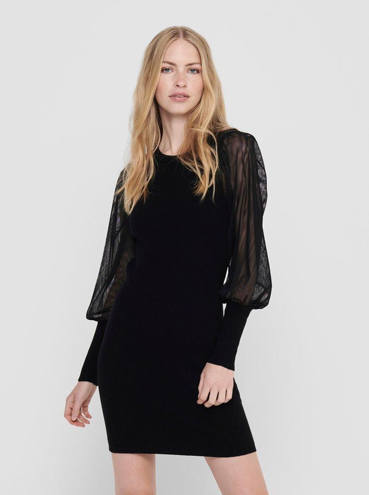 Černé pouzdrové svetrové šaty ONLY
