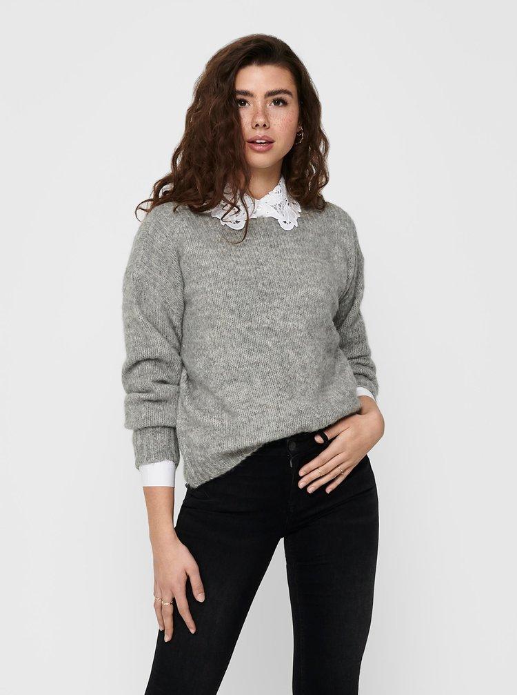 Šedý sveter s prímesou vlny ONLY