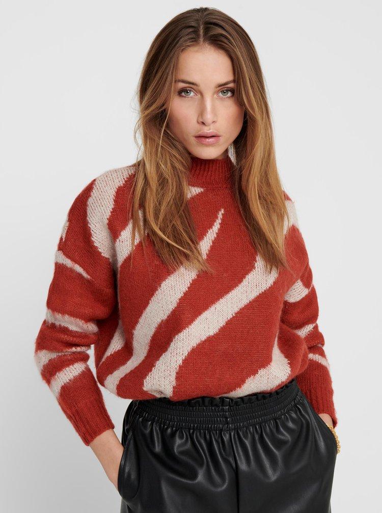 Červený vzorovaný svetr ONLY