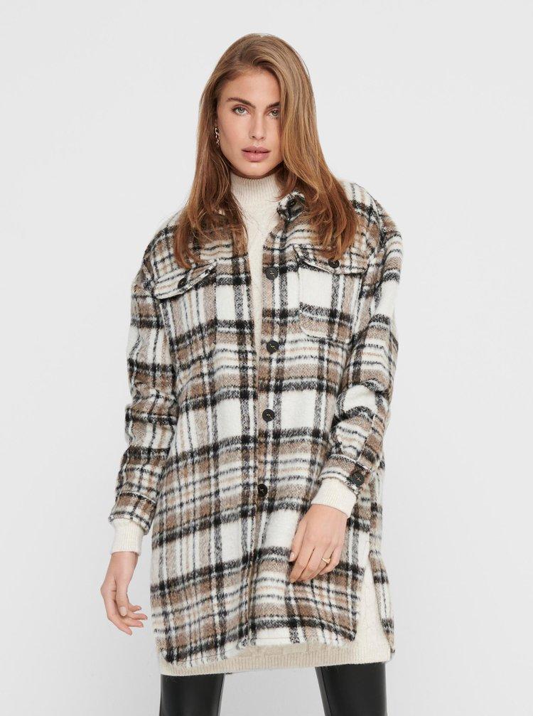 Béžový kostkovaný lehký kabát ONLY