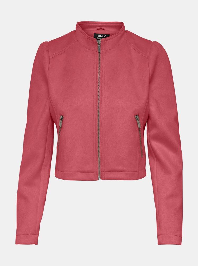 Růžová bunda v semišové úpravě ONLY