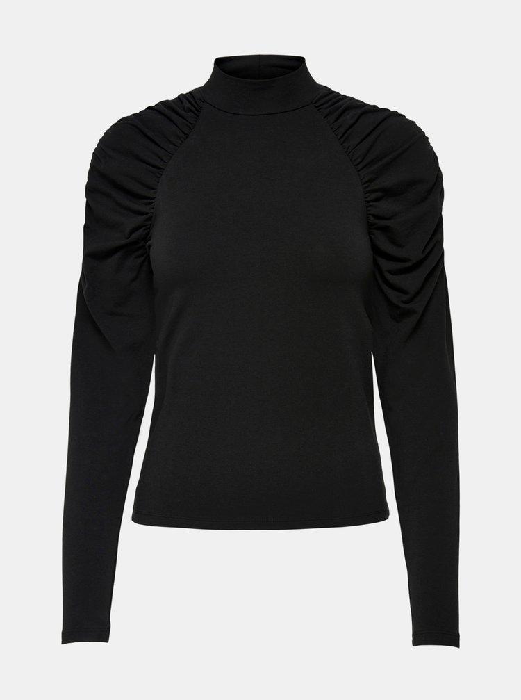 Čierne tričko s nariasenými rukávmi ONLY