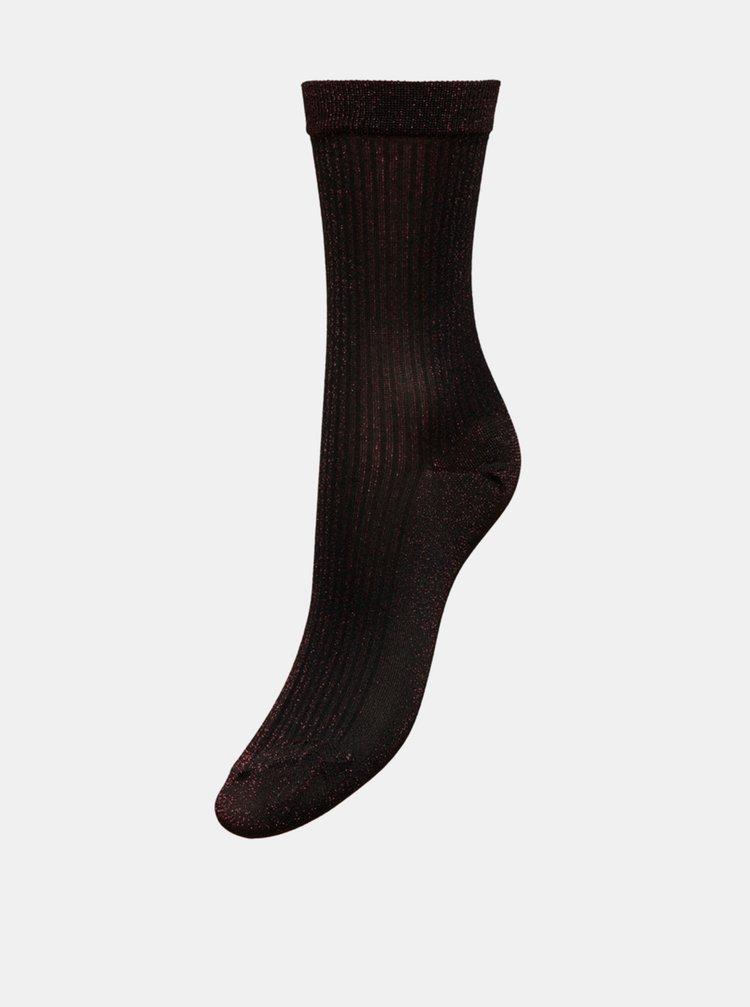Čierne trblietavé ponožky v darčekovej krabičke ONLY