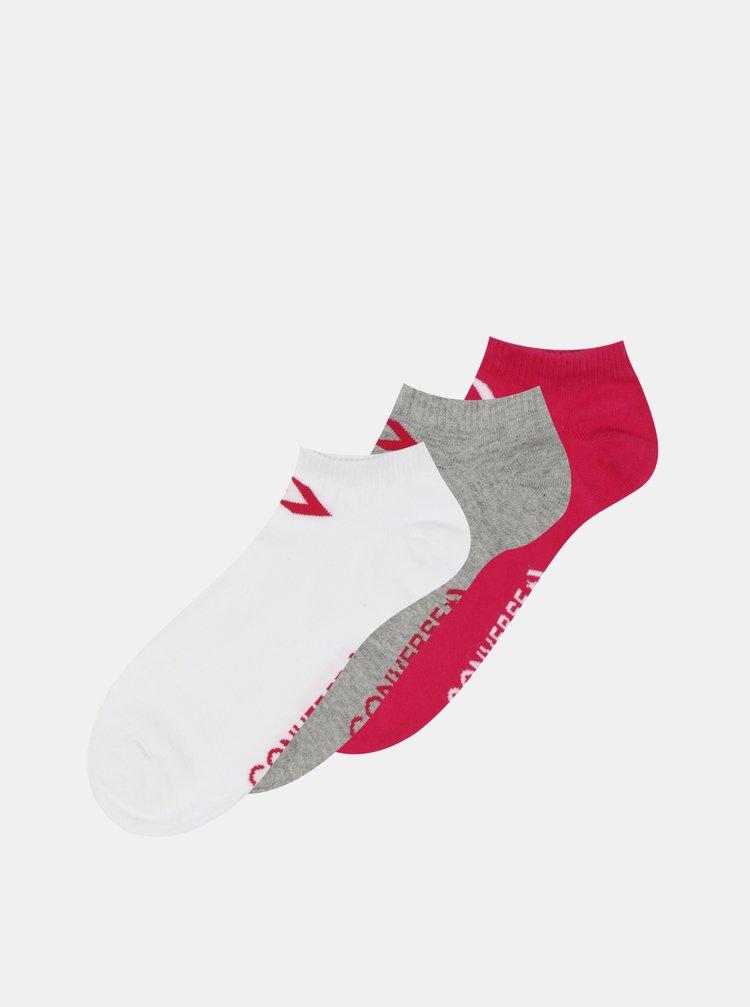 Sada tří párů dámských kotníkových ponožek v šedé a růžové barvě Converse