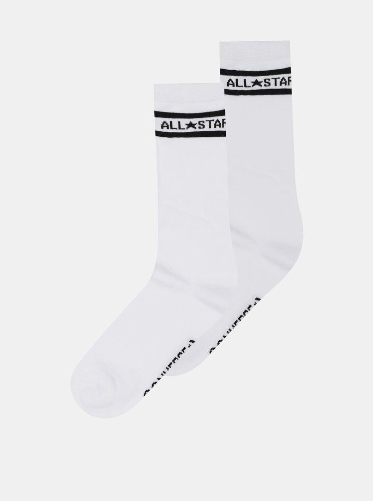 Sada dvoch párov bielych dámskych ponožiek Converse