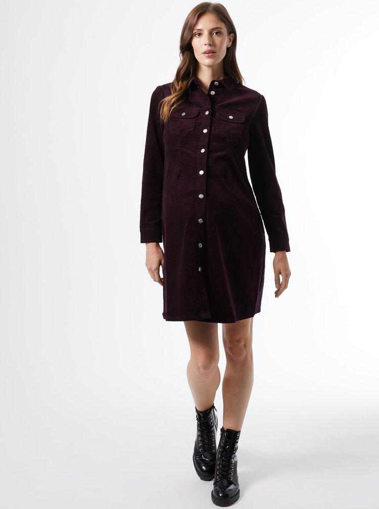 Vínové košeľové menčestrové tehotenské šaty Dorothy Perkins Maternity