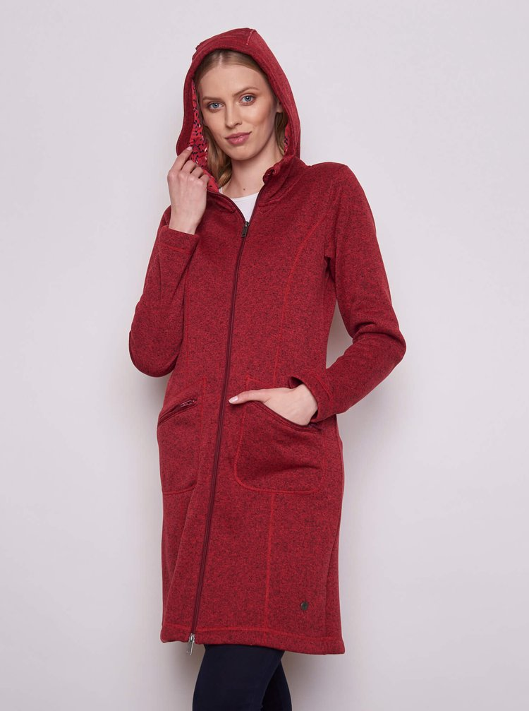 Červená dámska dlhá mikina s kapucou Tranquillo
