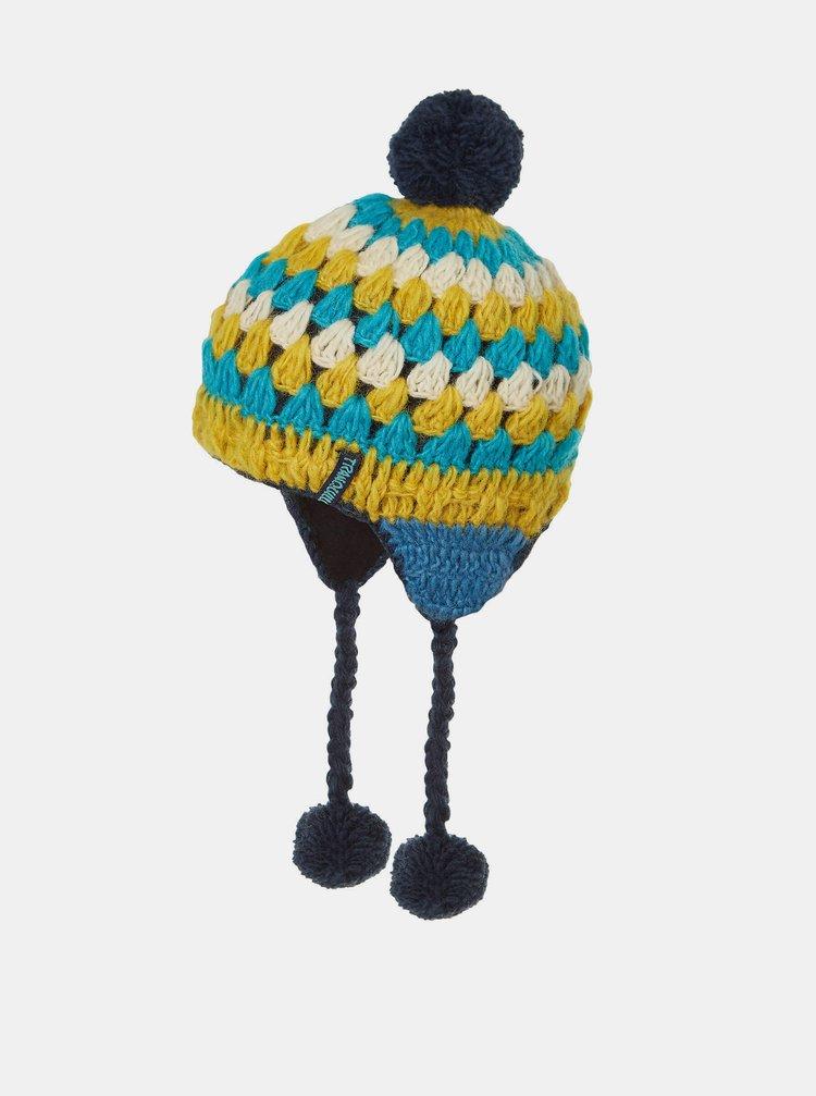 Žluto-modrá dámská vlněná čepice Tranquillo