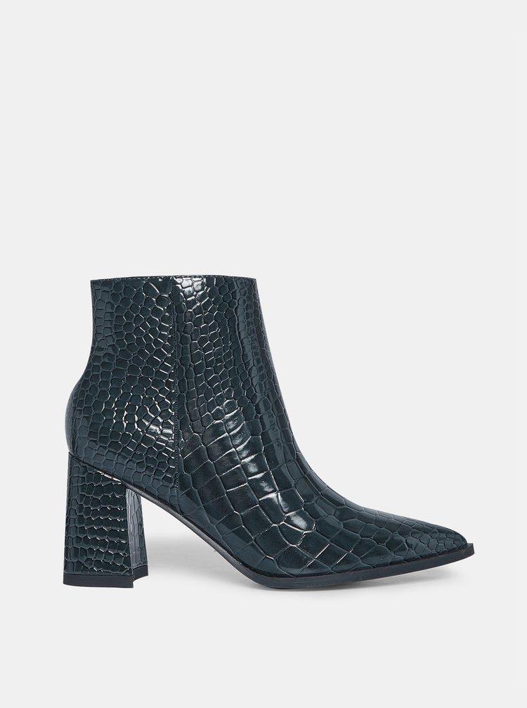 Modré kotníkové boty s krokodýlím vzorem Dorothy Perkins