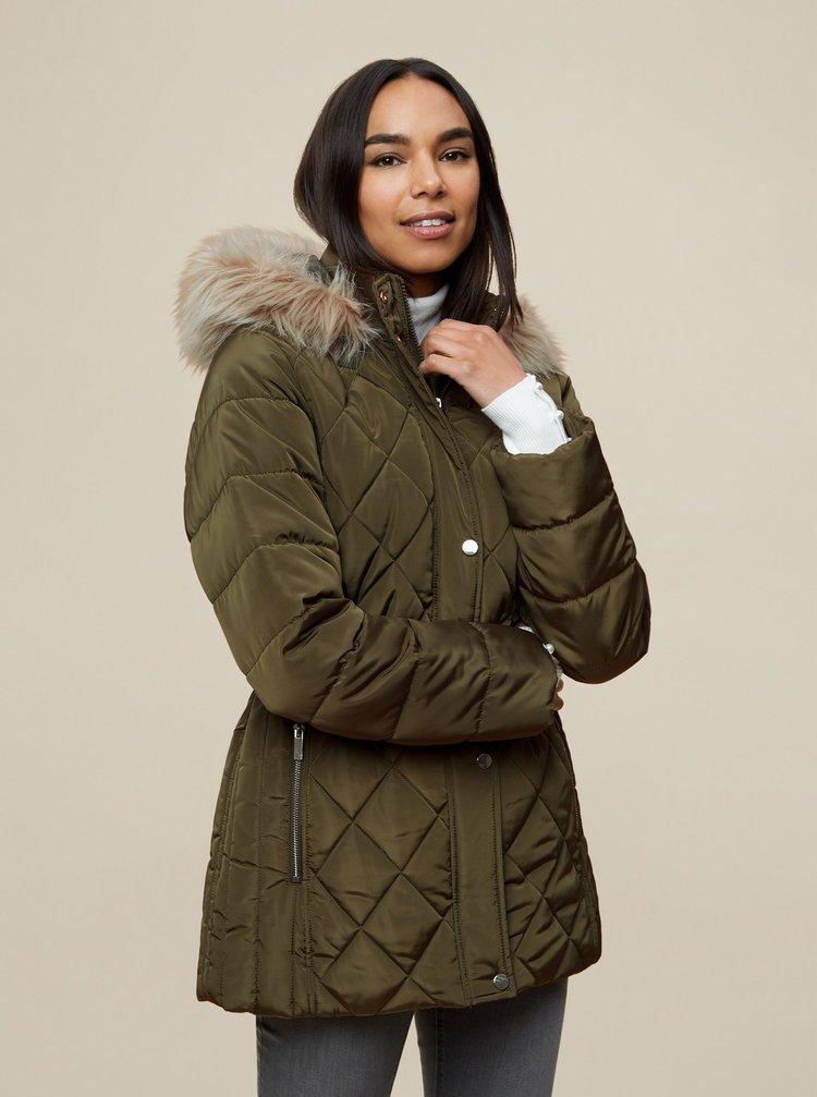 Khaki zimní prošívaná bunda Dorothy Perkins