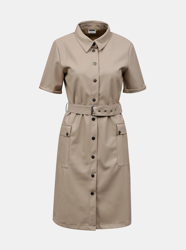 Béžové koženkové košilové šaty Noisy May