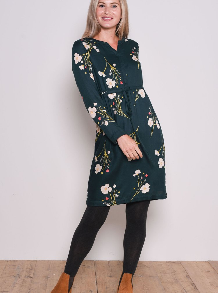 Tmavě zelené květované šaty Brakeburn