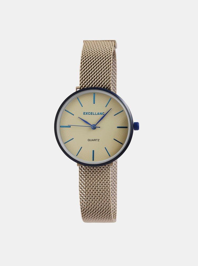 Dámské hodinky s nerezovým páskem v hnědé barvě Excellanc