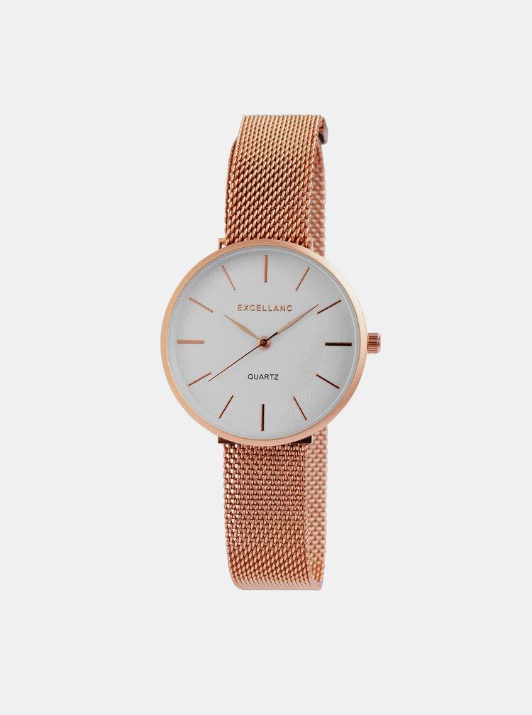 Dámske hodinky s nerezovým remienkom v ružovozlatej farbe Excellanc