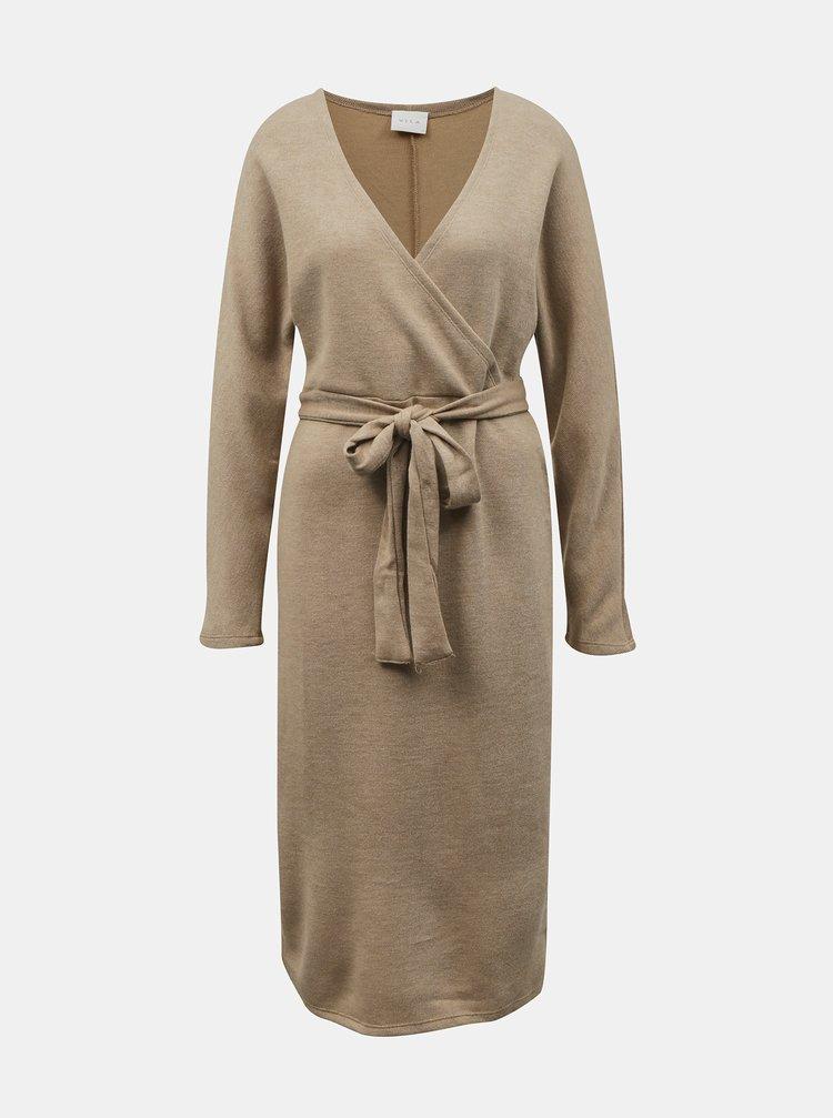Béžové svetrové šaty so zaväzovaním VILA
