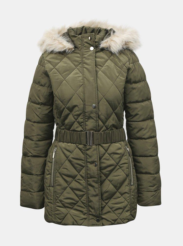 Khaki zimní prošívaná bunda Dorothy Perkins Tall
