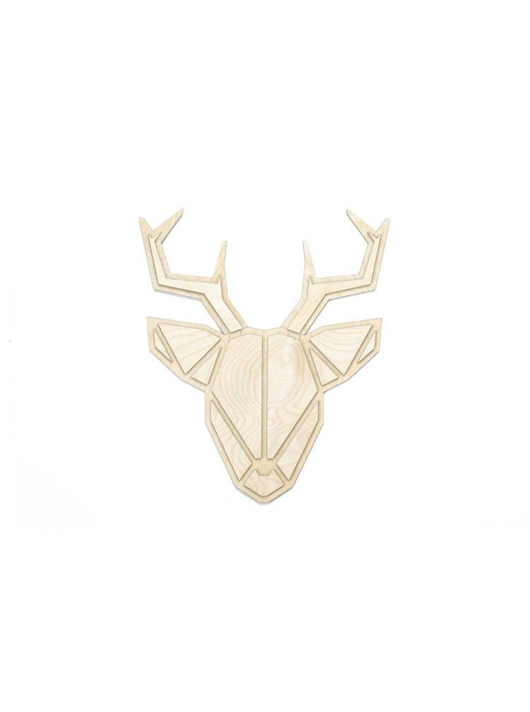 Dřevěná dekorace na zeď Deer Polygon BeWooden