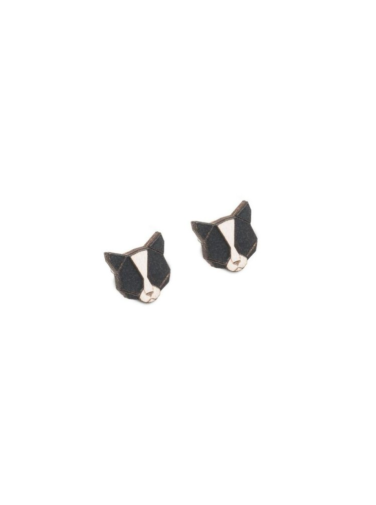 Dřevěné náušnice Black Cat Earrings BeWooden