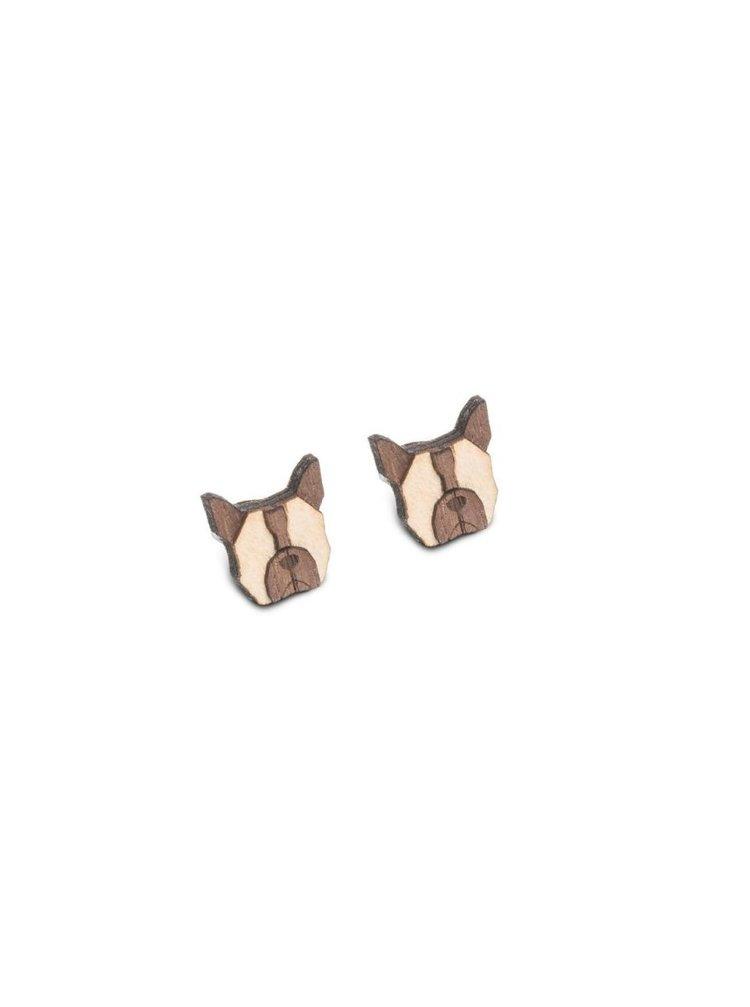 Dřevěné náušnice French Bulldog Earrings BeWooden