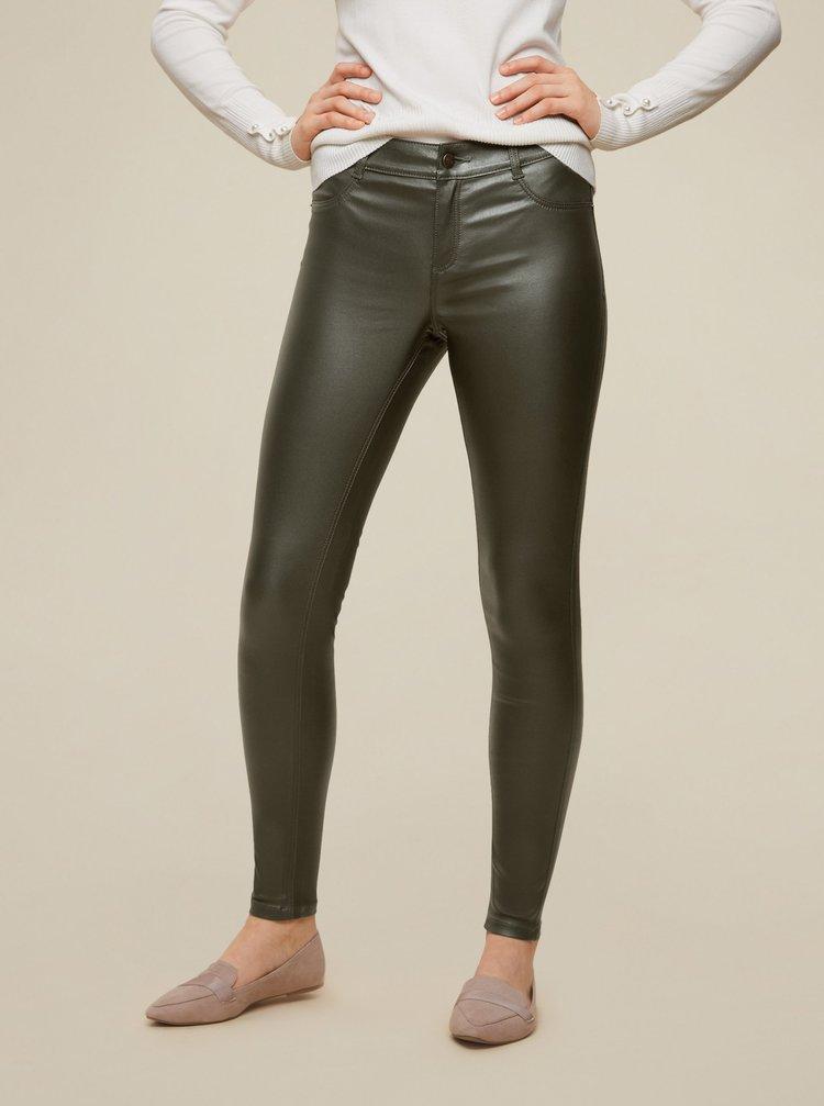 Khaki koženkové skinny fit kalhoty Dorothy Perkins