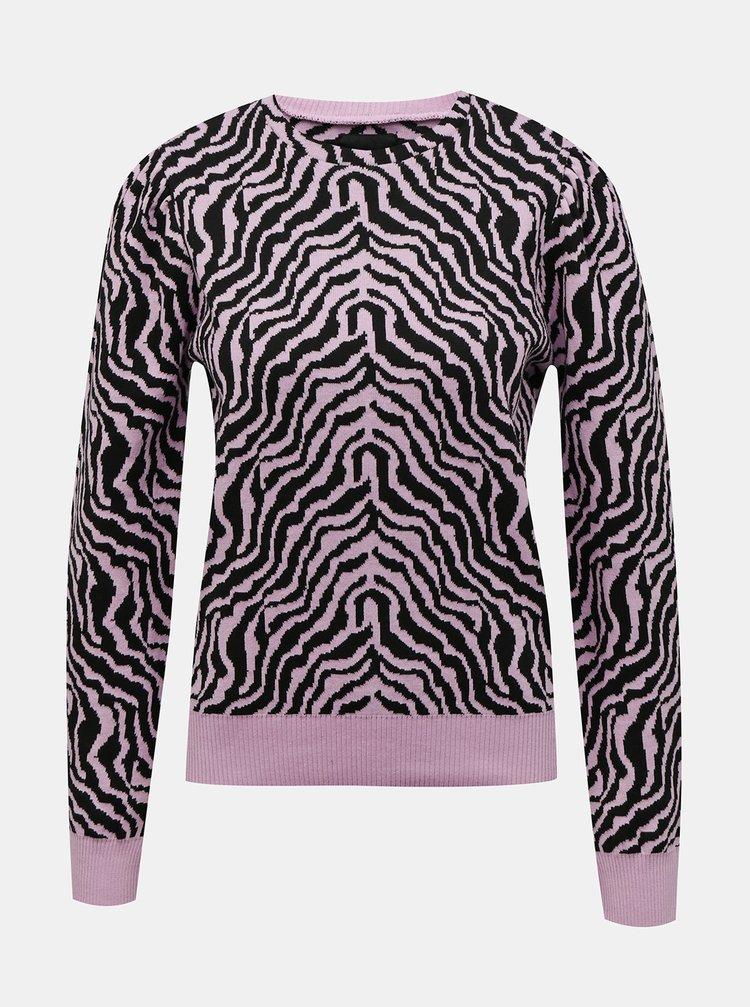 Ružový sveter so zebrím vzorom Pieces