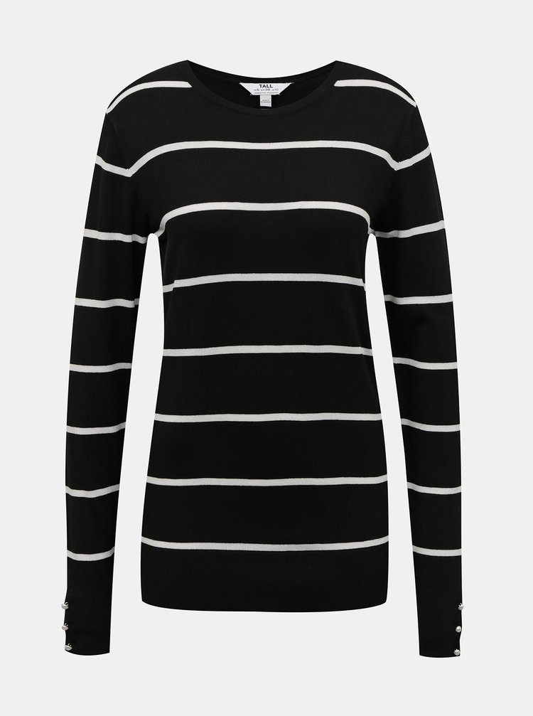 Čierny pruhovaný sveter Dorothy Perkins Tall