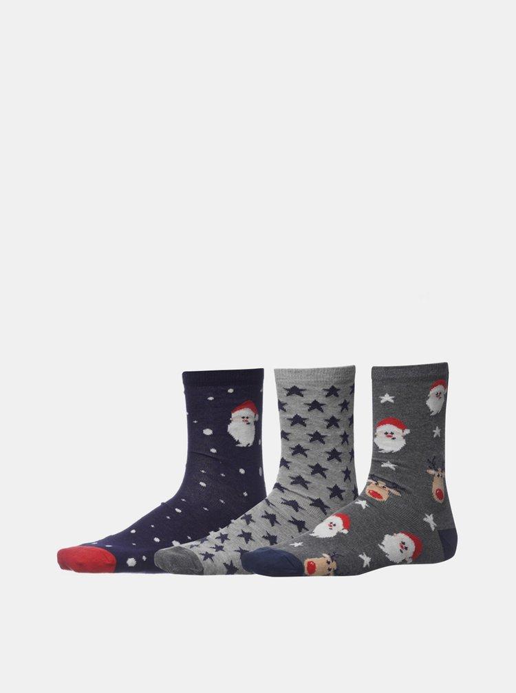 Sada tří párů pánských vánočních ponožek v šedé barvě SAM 73