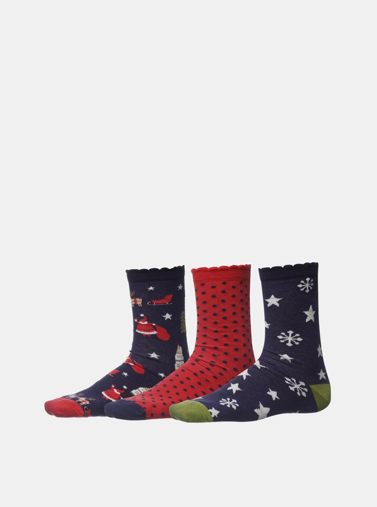 Sada tří párů dámských vánočních ponožek v modré a červené barvě SAM 73