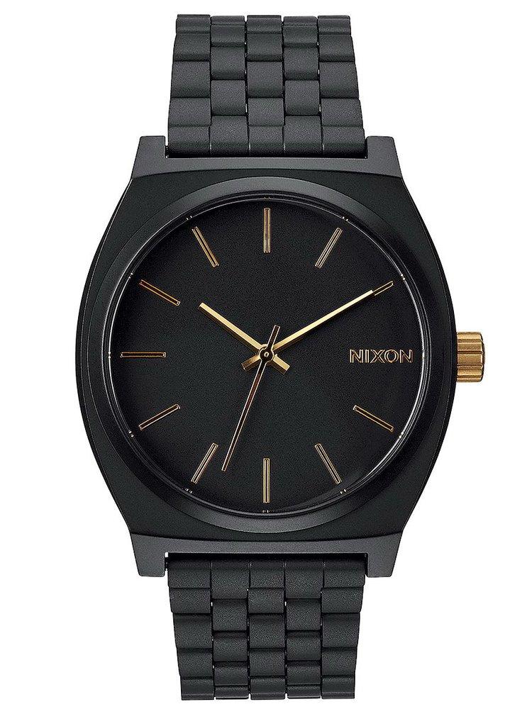 Nixon TIME TELLER MATTEBLACKGOLD analogové sportovní hodinky - černá
