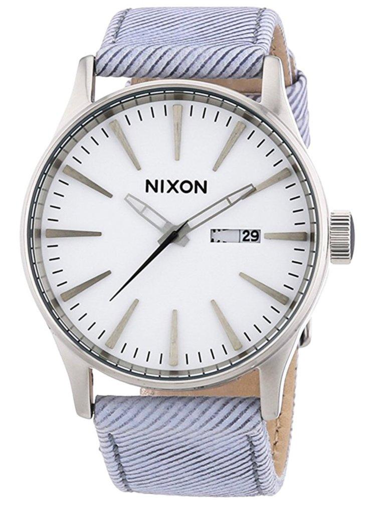 Nixon SENTRY LEATHER PINSTRIPE analogové sportovní hodinky - šedá