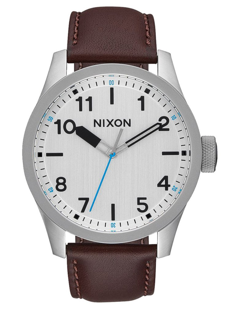 Nixon SAFARI LEATHER SILVERBROWN analogové sportovní hodinky
