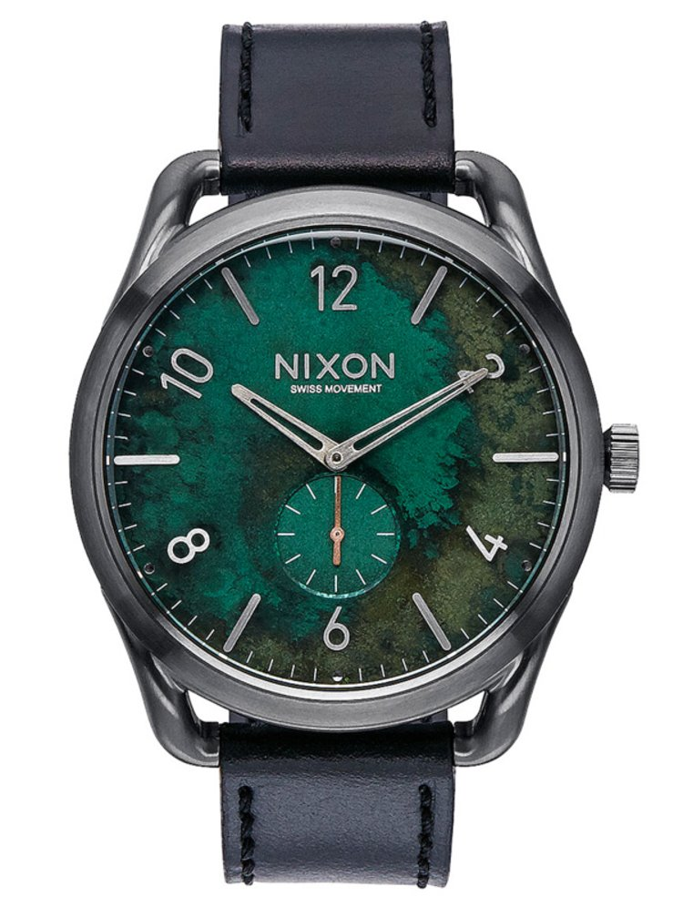 Nixon C45 LEATHER GUNMETALGREENOXYDE analogové sportovní hodinky