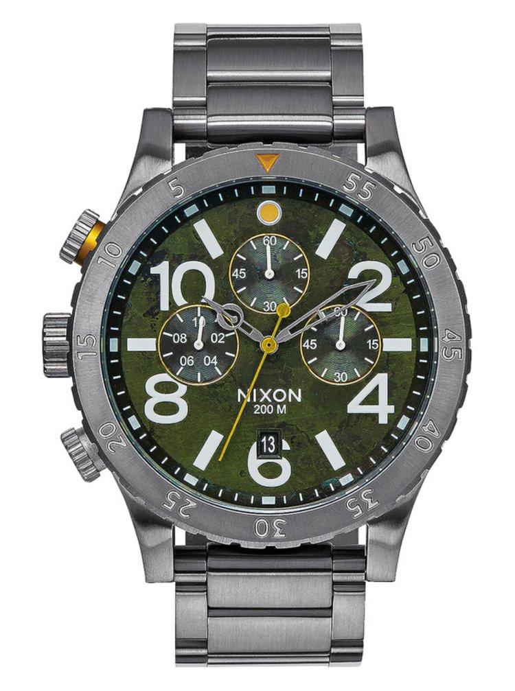 Nixon 48-20 CHRONO GUNMETALGREENOXYDE analogové sportovní hodinky