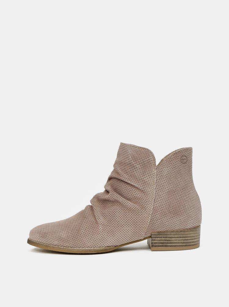 Světle hnědé semišové kotníkové boty Tamaris