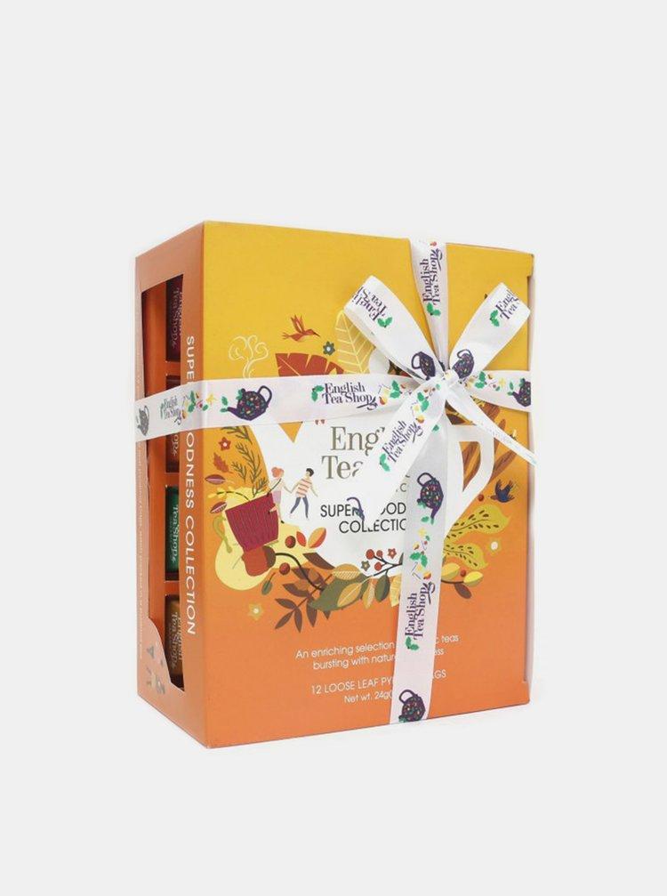 Darčeková kolekcia čajov Super goodness pyramíd English Tea Shop 12 ks