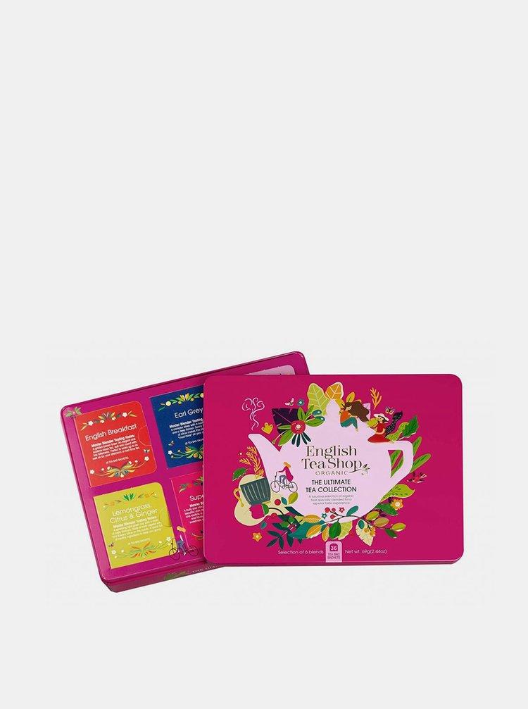 Červená darčeková plechová kazeta bio čajov English Tea Shop 36 ks