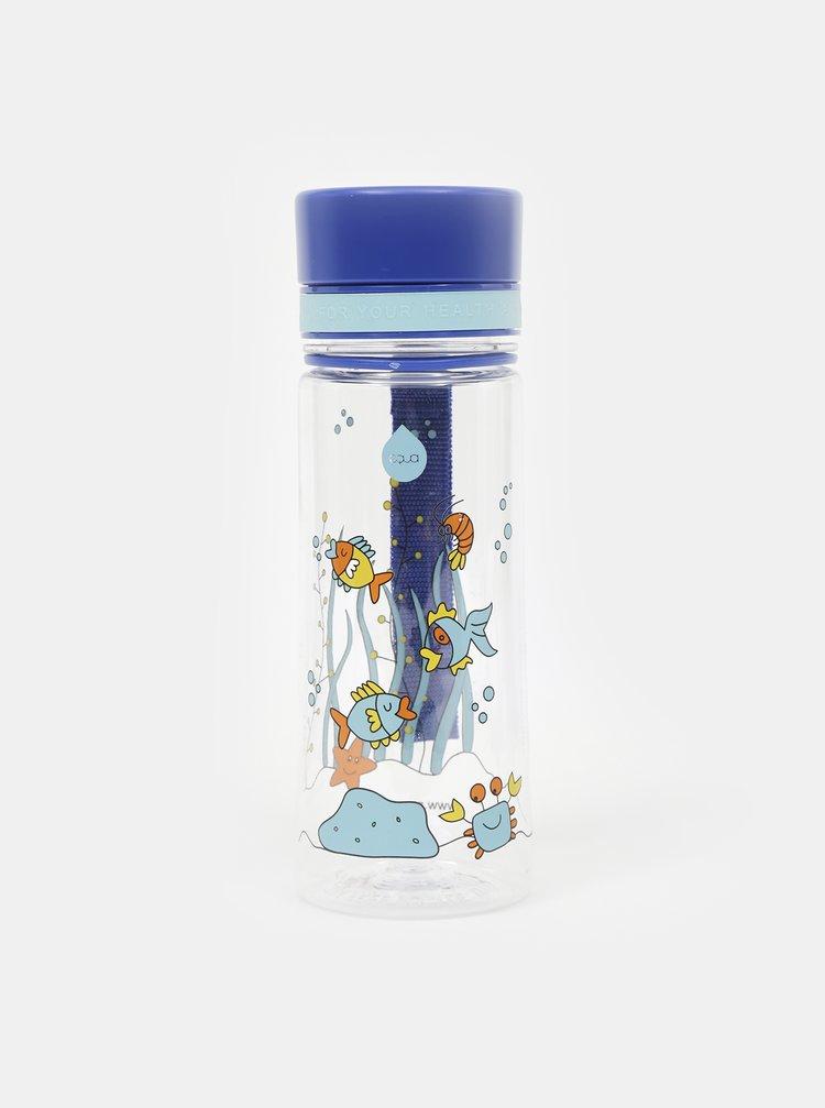 Modrá plastová láhev s potiskem EQUA 400 ml