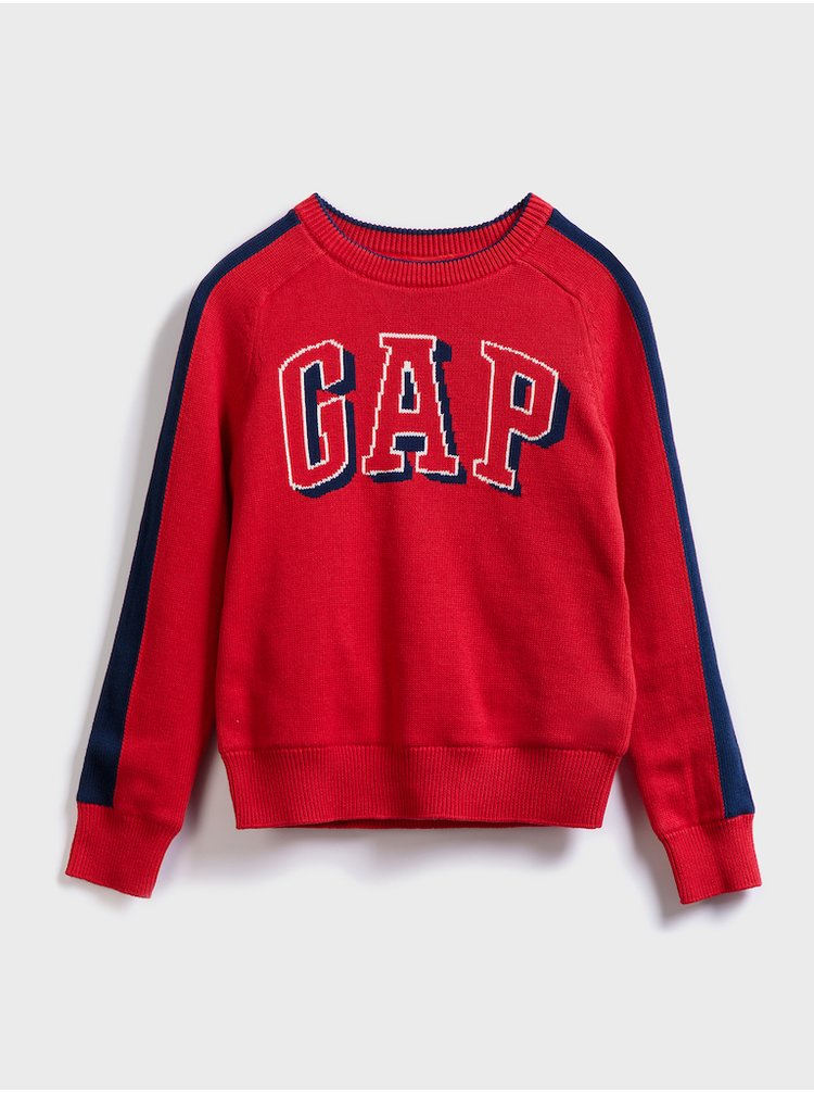 Červený klučičí svetr GAP logo