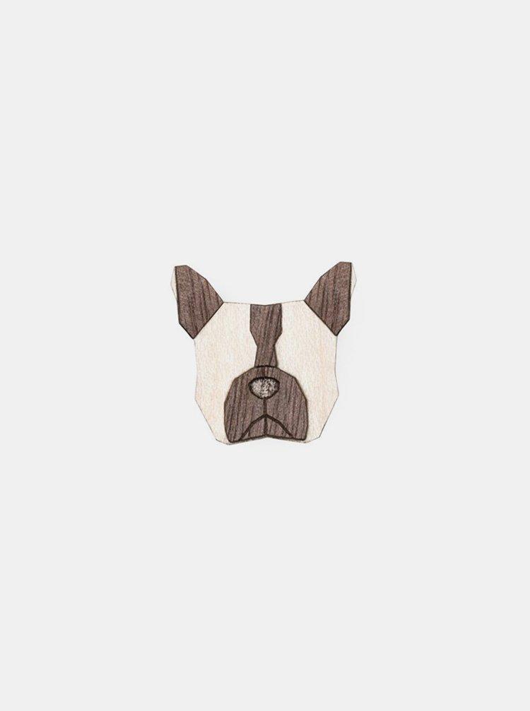 Dřevěná brož ve tvaru psa French Bulldog Brooch BeWooden