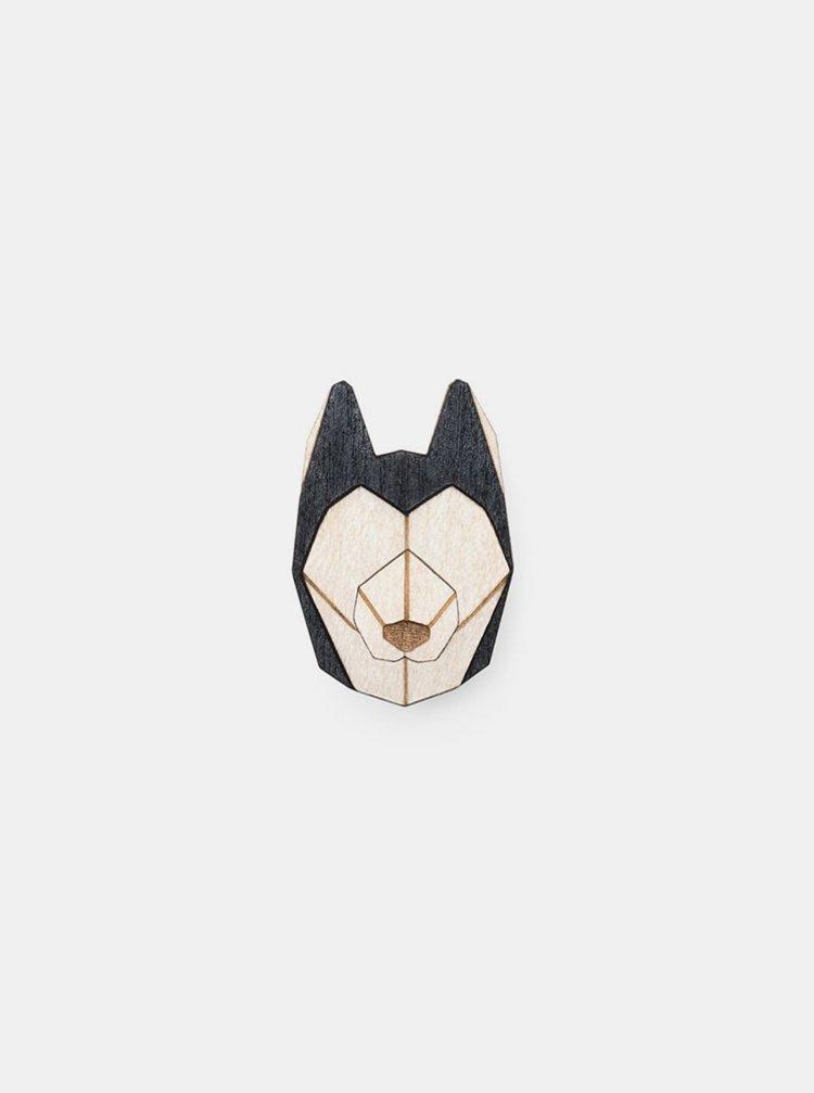 Dřevěná brož Husky Brooch BeWooden