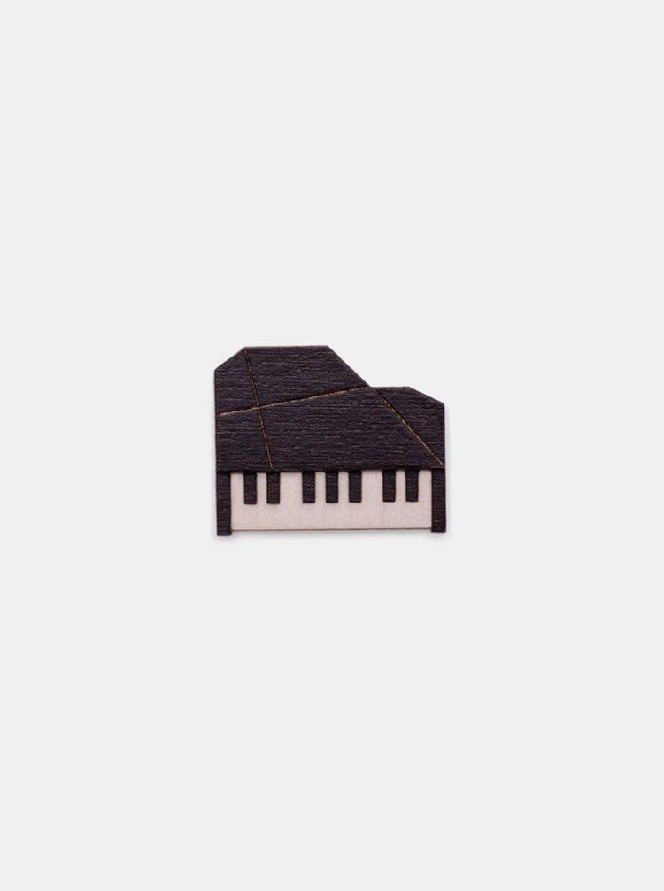 Dřevěná brož Piano Brooch BeWooden