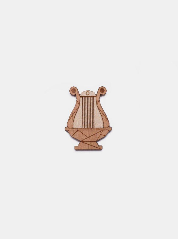Dřevěná brož Lyre Brooch BeWooden