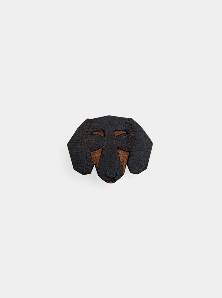 Dřevěná brož ve tvaru psa Dachshund Brooch BeWooden