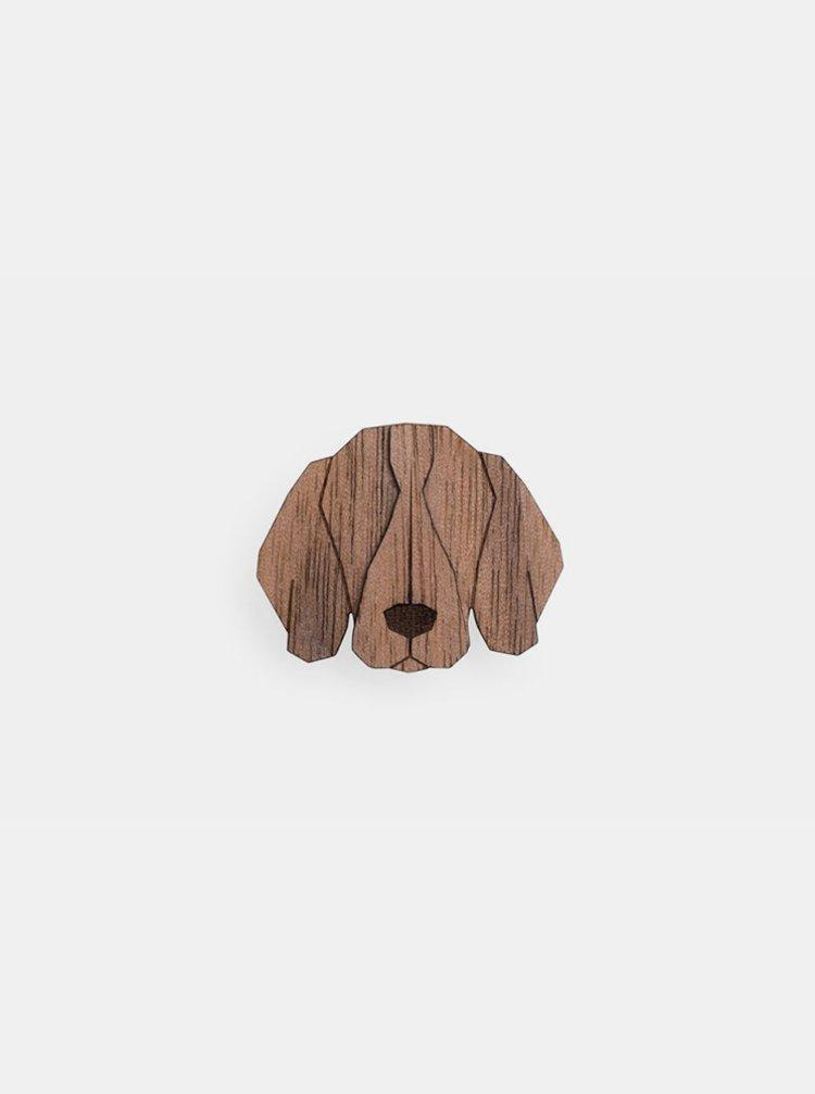 Dřevěná brož ve tvaru psa Weimaraner Brooch BeWooden