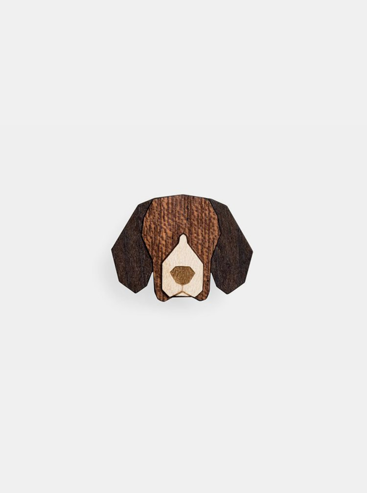 Dřevěná brož ve tvaru psa Beagle Brooch BeWooden