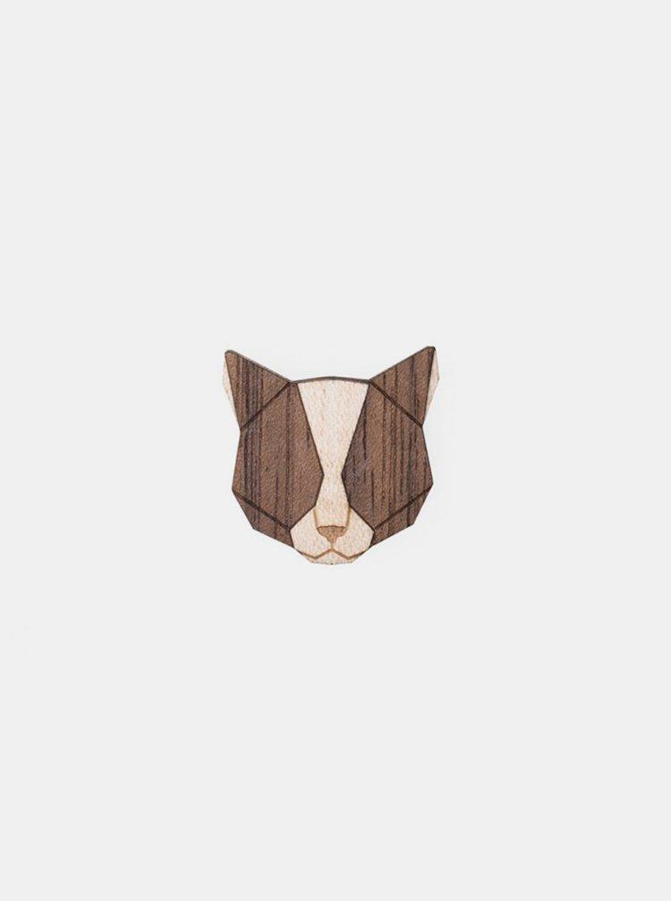 Dřevěná brož Grey Cat Brooch BeWooden