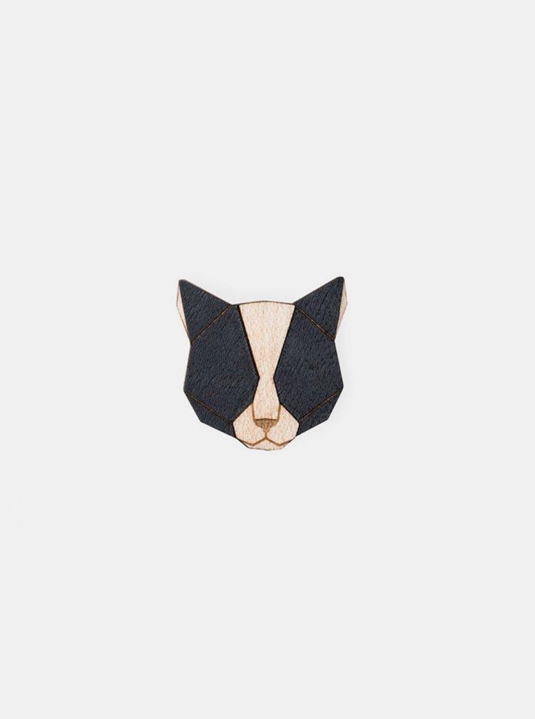 Dřevěná brož Black Cat Brooch BeWooden